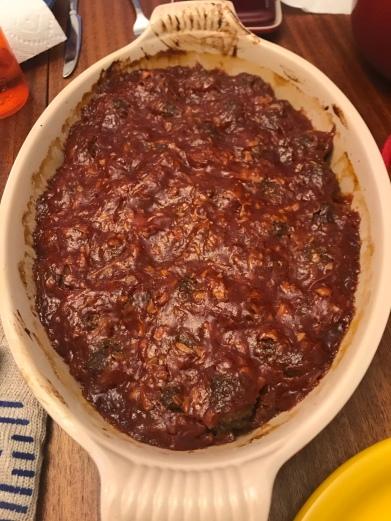 a casserole pan of meatballs.
